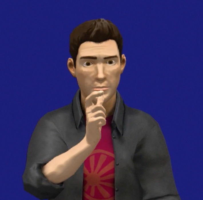 Image showing a sign-language avatar delivering an ASL sentence.