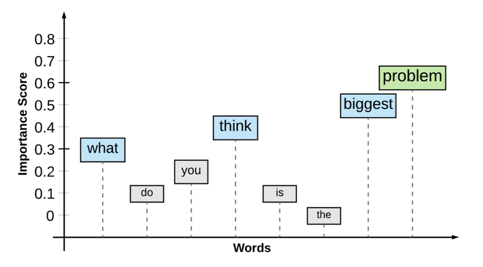 Image showing a sentence, what do you think is the biggest problem, with importance annotation for each word. Words like, biggest and problem, received high importance.